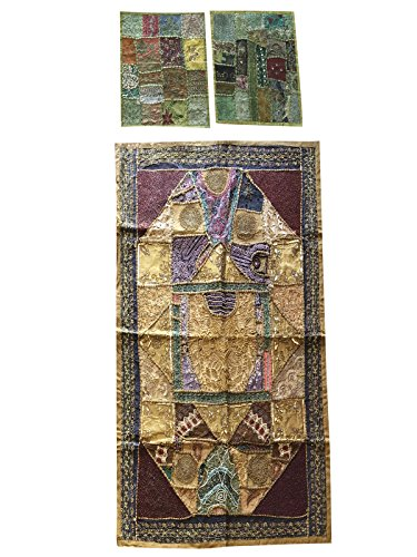 Mogul Interior Bohemian Indian Patchwork Tapestry with Cushion Cover Handmade Vintage Sari Wall Hanging Throw