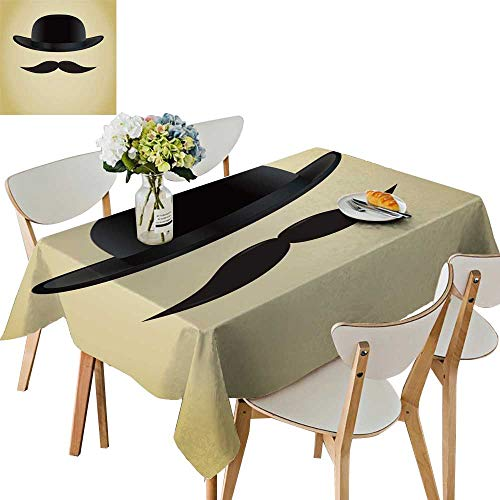 UHOO2018 Square/Rectangle Polyesters Tablecloth Bowler hat Moustache Wedding Party,50 x 81inch ()
