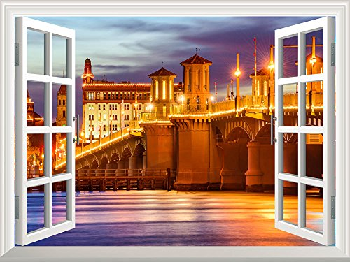 Removable Wall Sticker Wall Mural St Augustine Florida USA City Skyline and Bridge of Lions Creative Window View Wall Decor