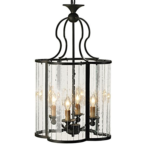 Rudolpho Wrought Iron Seeded Glass Clover Leaf Lantern Pendant (Wrought Iron Clover)