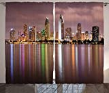 Apartment Decor Collection Clouds Look Ominous over San Diego California Riverside Mirror Panoramic Photography Living Room Bedroom Curtain 2 Panels Set Puce Ivory