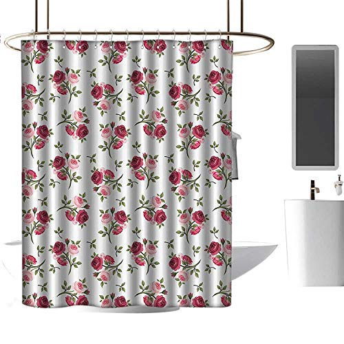 Shower Curtains Digital Printing Roses Decorations Collection,Pattern With Rose Stems Flowers Classic English Garden Style Design Repeat Art,Red Pink Green Design Decorative Medallion Print -