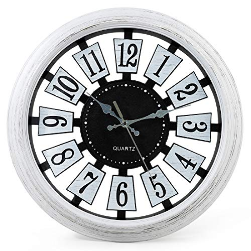 SMILEMARY Vintage Wall Clock,12 inch Silent Non-Ticking Retro Clock Battery Operated Easy to Read for Indoor Decorm,Living Room Bedroom Home Office School,White