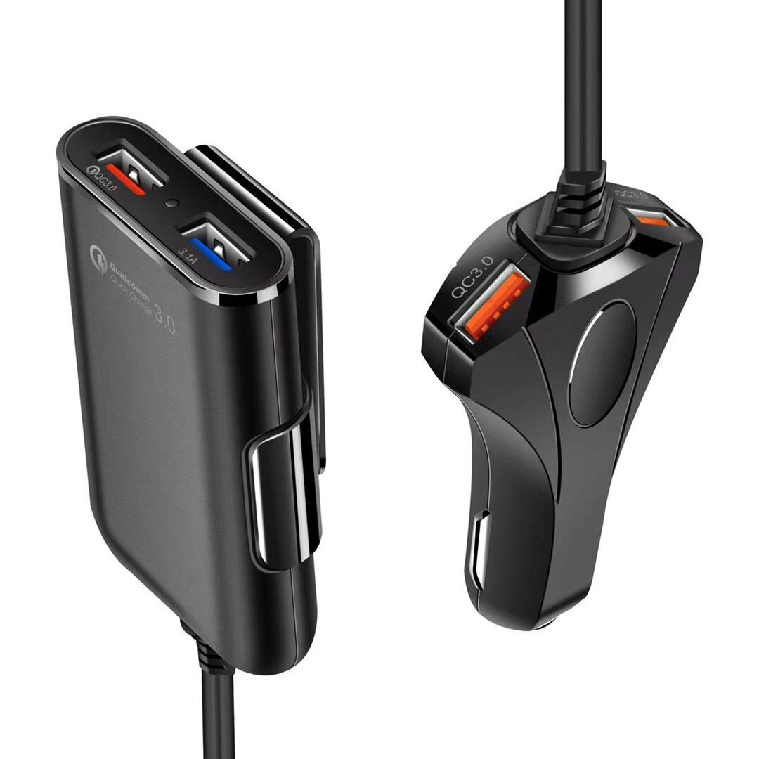 TaoFilm Pro Car Charger USB Adapter 60W Multi 4 Port Car Charger with 3USB Quick Charge QC 3.0 and One Smart Fast Car Charger Hub for Back and Front Seat with 1.8M Cable for Cellphone Tablet and More