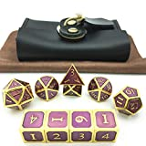 Momostar Metal Polyhedral Dice Set of 7 + 3 D6, Delicate Leatherette Box & Cleaning Cloth. Great for RPG, D&D. -Golden & Lavender Background.