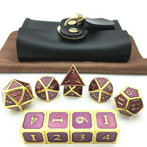 Momostar Metal Polyhedral Dice Set of 7 + 3 D6, Delicate Leatherette Box & Cleaning Cloth. Great for RPG, D&D. -Golden & Lavender Background. (Cleaning Zinc Table Tops)