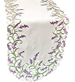 Linens, Art and Things Embroidered Purple Embroidered Lavender Lilac Table Runner 16″ X 70″