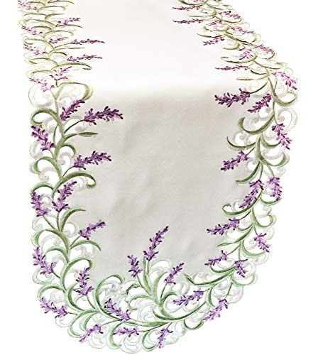 (BANBERRY DESIGNS Embroidered Table Runner with Lavender Lilac Flowers on Cream, 14 by 54 Inch, Machine Washable)