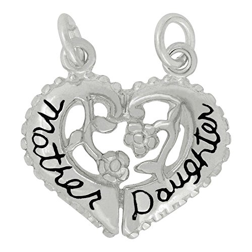 Sterling Silver Break Apart Mother Daughter Heart Charm (19 x 15 (Daughter Break Apart Heart)