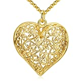 N.egret Golden Heart Shaped Hollow Design Pendant Love Heart Necklace Women Fashion Jewelry Gift For Ladies