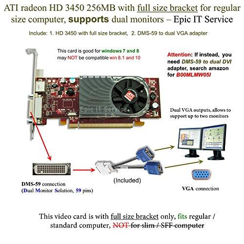 ATI Radeon HD 3450 256MB low profile graphics card (full size bracket, DMS-59 to dual VGA (Ati Radeon Hd 3450 256mb)