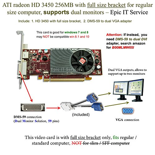 ATI Radeon HD 3450 256MB low profile graphics card (full size bracket, DMS-59 to dual VGA adapter)