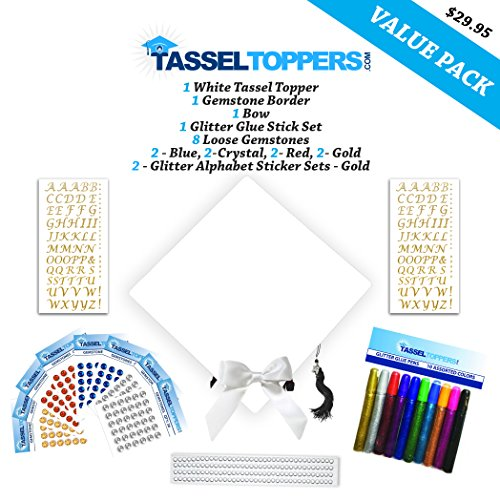 Tassel Toppers Graduation Cap Decorating Kit - White - Do It Yourself Grad Cap Decorations