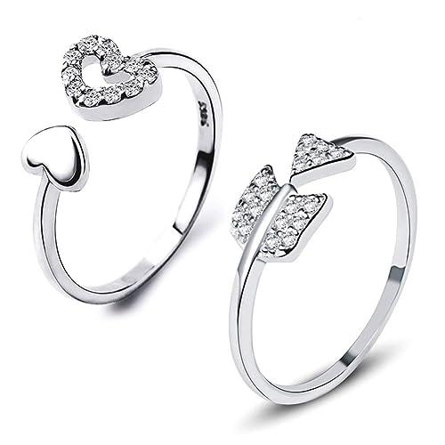 Set de anillos de plata de ley 925 de Gilind, diseños en forma
