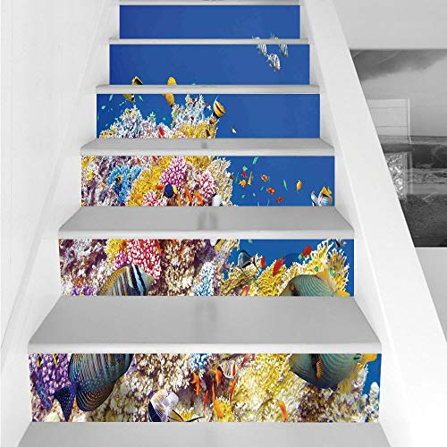Stair Stickers Wall Stickers,6 PCS Self-adhesive,Ocean Decor,Colorful Underwater World with Corals and Tropical Fish Exotic Diving Travel Destination,Blue Yellow,Stair Riser Decal for Living Room, Hal
