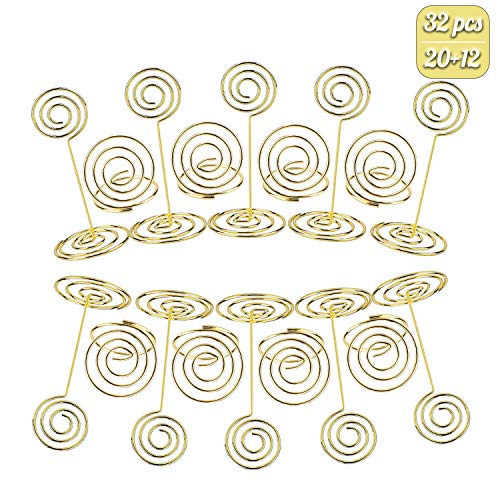 - Habbi 32pcs Place Card Holders, Table Number Stands Wire Photo Holder with Heart Shape Menu Memo Clips for Wedding Favor(Gold)
