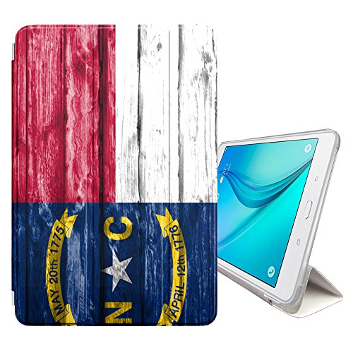(FJCases North Carolina The Tar Heel State Wood Pattern Flag Cover Stand + Back Case with Auto Sleep/Wake for Samsung Galaxy Tab E Lite 7