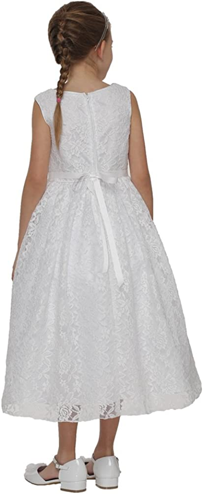 Cinderella Couture Big Girls White Dull Satin Lace Pearl Buckle Belt Communion Dress 6-16