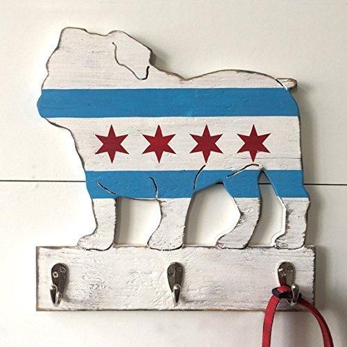 B01MT5G87O English Bulldog Chicago Pup Flag Leash Holder Hook 51DVBvN2BBZL