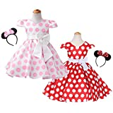 FYMNSI Toddler Girls Polka Dots Princess Birthday Party Pageant Cap Sleeve Bowknot Dress with Headband 1-6T