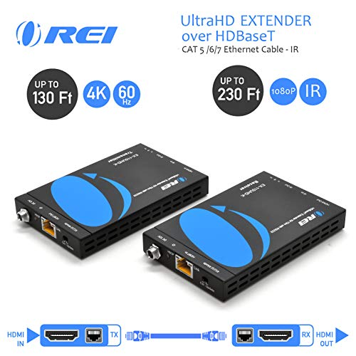 OREI HDMI Extender HDBaseT UltraHD Over Single CAT5/CAT6 Cable 4K @ 60Hz with HDR & IR Control - Up to 130 Ft - Zero Latency - Power Over Cable