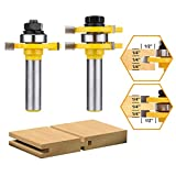 Tongue and Groove Set,DRILLPRO 2PCS Router Bit Set 1/2-Inch Shank T Shape Wood Milling Cutter Woodworking Tool For Doors, Tables, Shelves, Walls, DIY Woodwork