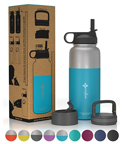 the flow Stainless Steel Water Bottle Double Walled/Vacuum Insulated - BPA/Toxin Free – Wide Mouth with Straw Lid, Carabiner Lid and Flip Lid, 32 oz.(1 Liter) (Stainless Pacific blue, 32oz)