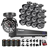 TMEZON 16CH Channel HDMI Video DVR CCTV Security Cameras System 800tvl IR Cut Outdoor Bullet Hi-Resolution Surveillance Cameras Black Smart Phone View with 1TB HDD