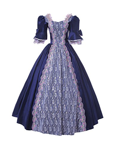 ROLECOS Womens Royal Vintage Medieval Dresses Lady Satin Gothic Masquerade Dress Navy Blue