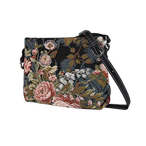 Borsetta donna Signare alla moda in tessuto stile arazzo a spalla borsa messenger a tracolla Peonia