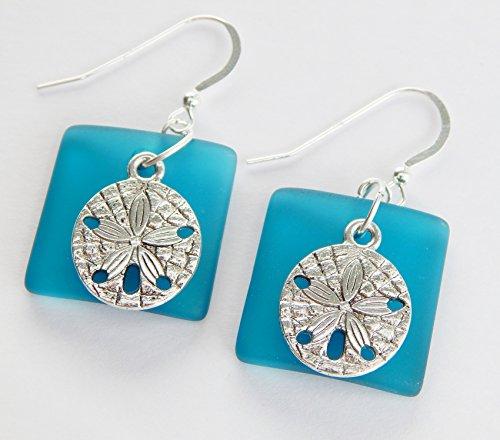 [Sea Glass Earrings, Aqua Earrings, Christmas gift for her, Dangle Earrings, Sterling Silver Earrings, Sand Dollar Jewelry, Sand Dollar] (1980s Costume Jewellery)