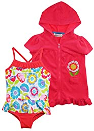 Wippette Baby Pastel Flowers Swim and Cover Up Set, Knockout Pink, 18 Months