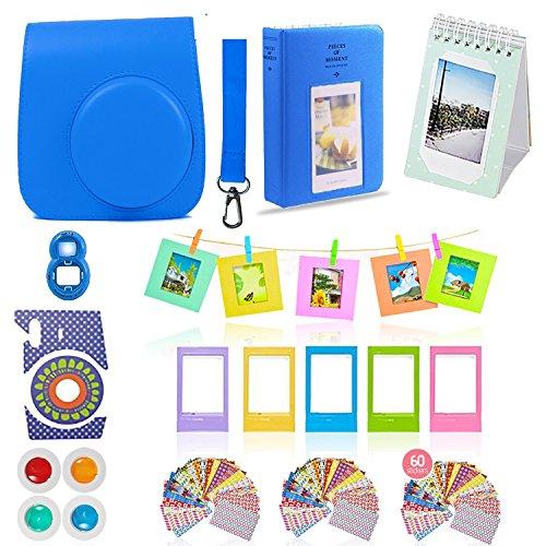 Fujifilm Instax Mini 9 Camera Accessories Bundle, 11 PC Kit Includes: Cobalt Blue Instax Case + Strap, 2 Albums, 4 Color Filters, Selfie Lens, Hanging + Creative Frames, Stickers, Gift Set