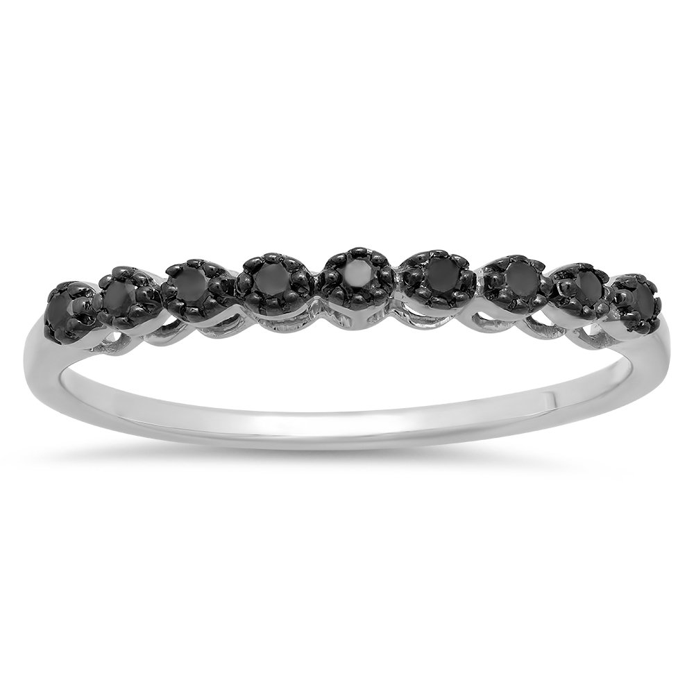 Round Black Real Diamond Wedding Anniversary Band 1//5 CT Dazzlingrock Collection 0.20 Carat Sterling Silver ctw