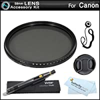 Deluxe 58mm NDX Variable Range Neutral Density Fader Filter Kit (Adjustable From ND2-ND1000) For Canon EF 70-300mm f/4-5.6 IS USM Lens (0345B002) For Canon EOS Rebel T5i, T4i, T3i, T2i, T3, SL1, EOS 6D, EOS 7D, EOS 60D, EOS 70D, EOS 5D Mark III DSLR +++