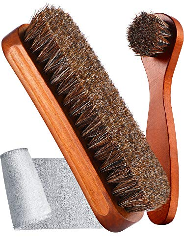 Youngjoy 6 Pieces Horsehair Shine Shoes Brush kit Polish Dauber Applicators