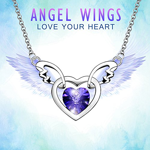 Women's SWAROVSKI Crystal Heart-Shaped Love Angel With Angel Wings 18K White Gold Filled Wedding Pendants Necklaces for Mother's Day Gifts