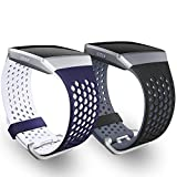 SKYLET for Fitbit Ionic Bands, 2 Pack Soft Silicone Breathable Replacement Wristband for Fitbit Ionic Smart Watch with Buckle (No Tracker)[Black-Gray&Navy Blue-White, Large]