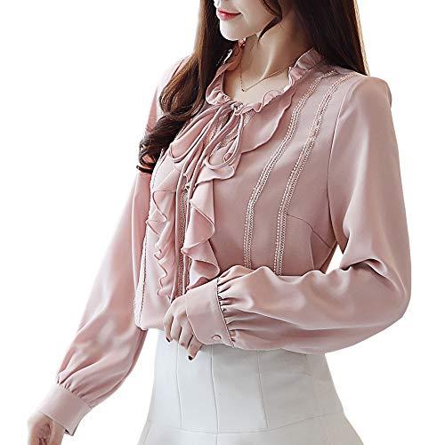 (Women's Hollow Out Design with Lace Crochet Elegant Long Sleeve Trim Blouse (XL, Pink Ruflle-Trim))