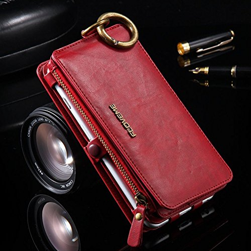 FLOVEME Luxury Retro Wallet Phone Cases iPhone 7 6 6s Plus Cover Leather Handbag Bag Cover iPhone X 7 6 6s 5S Case Coque (Red/China 6Plus 6sPlus)