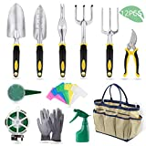 YISSVIC Garden Tools Set 12 Piece Heavy Duty Gardenin kit Cast-Aluminum with Soft Rubberized Non-Slip Handle -Durable Storage Tote Bag and Pruning Shears - Garden Gifts for Men Women