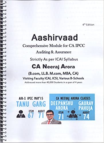 Buy ca ipcc auditing assurance aashirvaad by ca neeraj arora buy ca ipcc auditing assurance aashirvaad by ca neeraj arora best book for ca ipcc auditing assurance book online at low prices in india ca ipcc fandeluxe Image collections