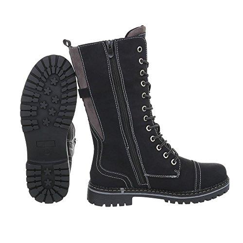 Cordones Negro Botas Ancho De Ital Tacón Para design Zapatos Mujer YqEz6wx6a