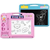 KIDSMARTER 2 in 1 Magnetic Drawing Board + Blackboard for Kids | Erasable Magnetic Doodle Board | Educational Doodle Board for Drawing and Writing | Toddler Doodle Board with Lovely Stamps, Pink