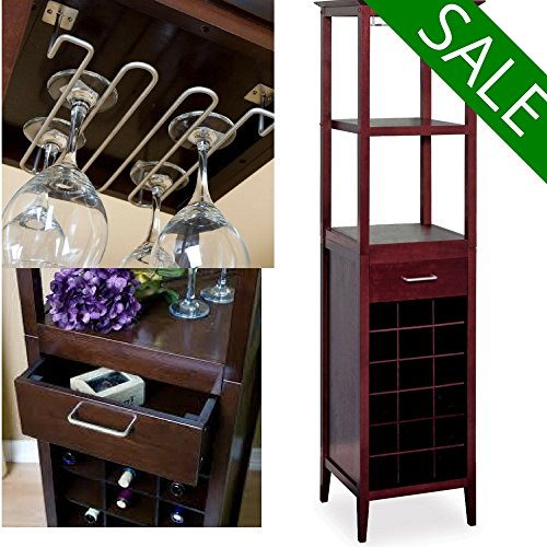 Wooden Red or White Wine Storage Furniture with Glass Rack Bottle Storage Shelves and Drawer Narrow Standing Bottle Rack for Men Women Wine Enthusiasts 18-Bottle Fancy Rack eBook by Easy&FunDeals