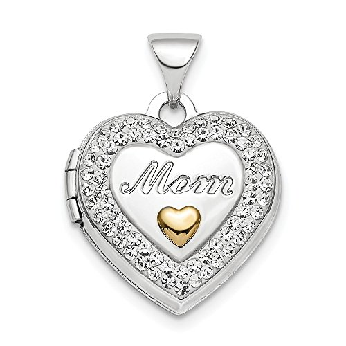 925 Sterling Silver Plate Gold Tone Preciosa Crystal Mom Photo Pendant Charm Locket Chain Necklace That Holds Pictures Mot Fine Jewelry Gifts For Women For Her