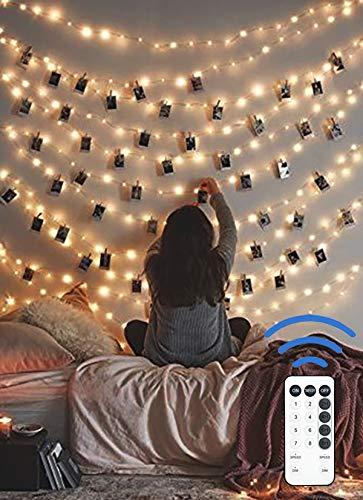 12APM 66ft 200 LED Fairy String Lights with Remote USB Powered, for Bedroom Decor (Lights Christmas On Stringing Ceiling)