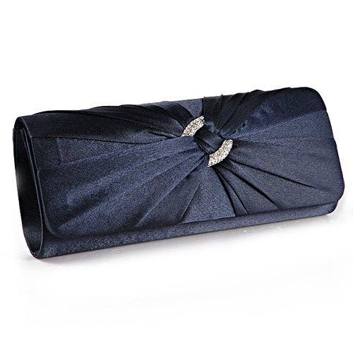 Anladia Satin Diamante Pleated Evening Clutch Bag Bridal Handbag Prom Purse (Navy Blue)