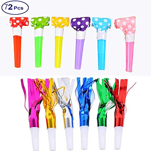 (WedFeir 72pcs Musical Blow Outs and Glitter Fringed Metalic Noisemaker, Party Noisemakers, Blowouts Whistles for Party. ( Assorted Colors)