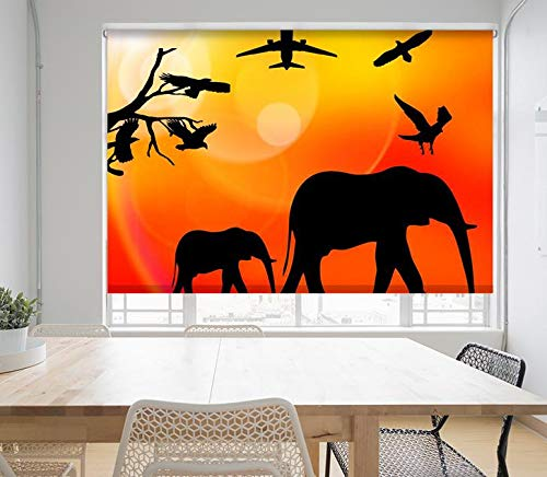 AFRICAN ANIMALS SILHOUETTE Printed Picture Blackout/Translucent Photo Roller Blind - Custom Made Window Blind/Shade
